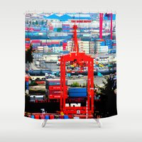 shipping Shower Curtains featuring Shipping by Jeffrey J. Irwin