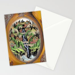 VILLAGE AND WATERFALL PEN DRAWING FRAMED IN MADRONA TREE Stationery Cards