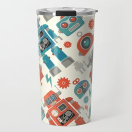 Retro Space Robot Seamless Pattern Travel Mug