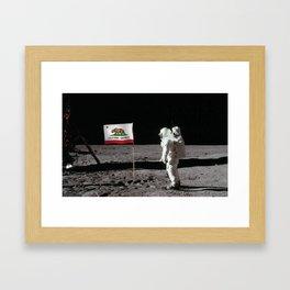 California Republic Flag on the Moon Framed Art Print