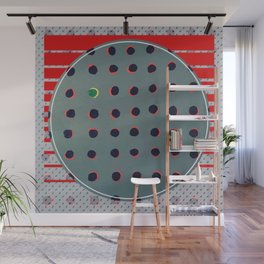 Green floats on yellow - red graphic Wall Mural
