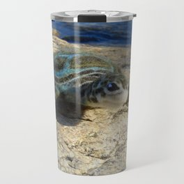 Green Sea Turtle Wool Sculpture Travel Mug