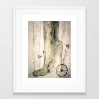 shoe Framed Art Prints featuring shoe by woman