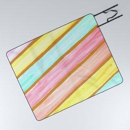 Retro Watercolor Stripes  Picnic Blanket