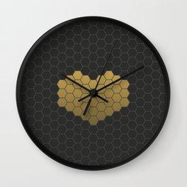 Beehive Hexagonal Geometric Heart Wall Clock