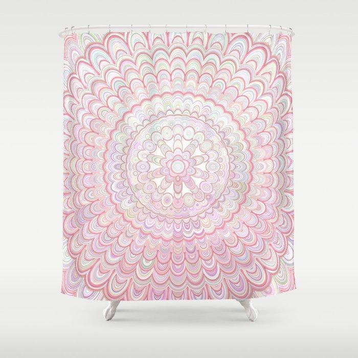Light Coral And White Mandala Shower Curtain By Davidzydd