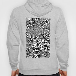 Black  and white psychedelic optical illusion Hoody