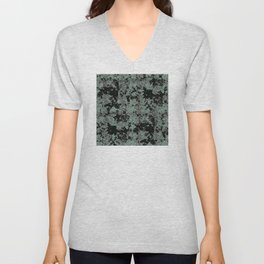 Silver Frost, Green and Black Ice Abstract Pattern Unisex V-Neck