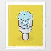 bathroom Art Prints featuring Bathroom Break by Ava Guerrero