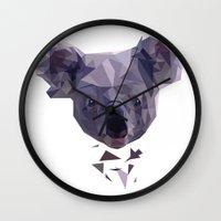 koala Wall Clocks featuring KOALA by MGNFQ