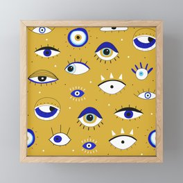 Eyes. Hand drawn closed and opened eye. Seamless eyes illustration pattern Framed Mini Art Print