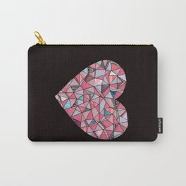 Geometric Patterned Heart  Carry-All Pouch