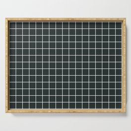 Charleston green - grey color - White Lines Grid Pattern Serving Tray