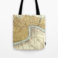 new orleans Tote Bags featuring New Orleans by Larsson Stevensem