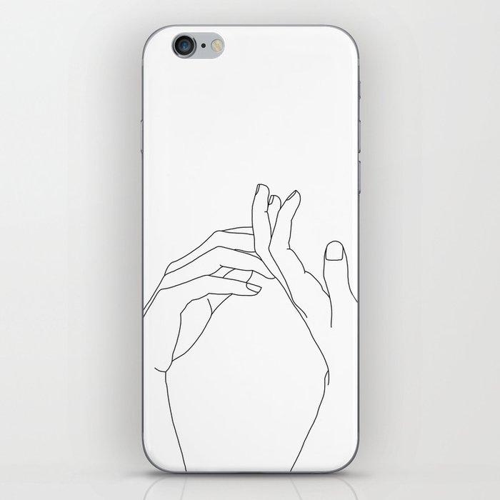 Hands line drawing illustration - Abi iPhone Skin