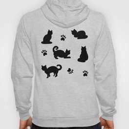 Black Cats and Paw Prints Pattern Hoody