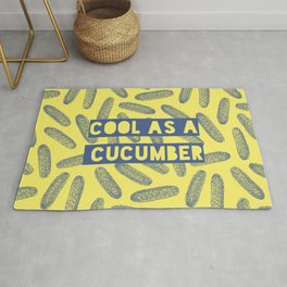 Cool as a cucumber! Seamless pattern design with green cucumbers Rug