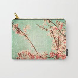 Pink Autumn Leafs on Blue Textured Sky (Vintage Nature Photography) Carry-All Pouch
