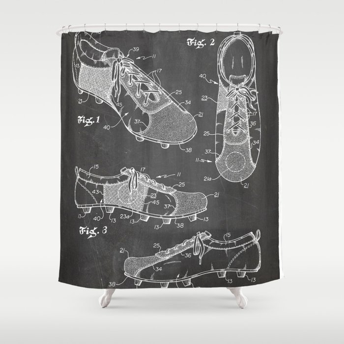 Soccer Boots Patent - Football Boots Art - Black Chalkboard Shower Curtain