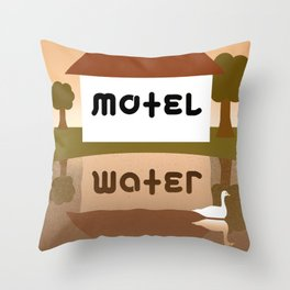 MOTEL WATER ambigram Throw Pillow