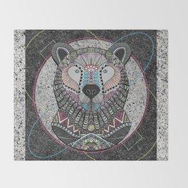 Neon Tribal Bear Throw Blanket