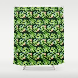 Tropical leaves seamless pattern, exotic monstera jungle print Shower Curtain
