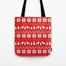 Chinese Crested Silhouettes Christmas Sweater Pattern Tote Bag