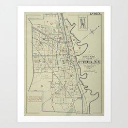 Vintage Map of Utica New York (1883) Art Print