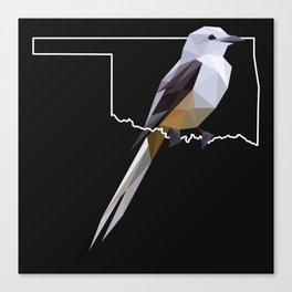 Oklahoma – Scissor-Tailed Flycatcher (Black) Canvas Print