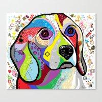 beagle Canvas Prints featuring BEAGLE by EloiseArt
