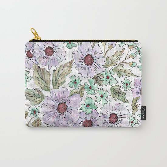 Colorful floral pattern . Beige background . Carry-All Pouch