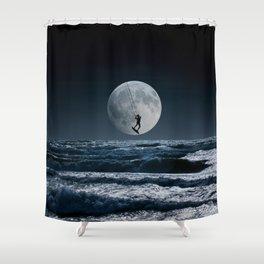 Kitesurfer in the moon in blue night sky horizon Shower Curtain