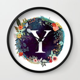 Personalized Monogram Initial Letter Y Floral Wreath Artwork Wall Clock