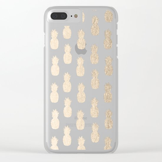 Gold Pineapples on Coral Pink Clear iPhone Case
