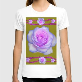 PINK-BLUE TINGED ROSES ON KHAKI COLOR T-shirt