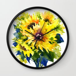 Colors of Summer, Sunflowers, Country style french country design Wall Clock