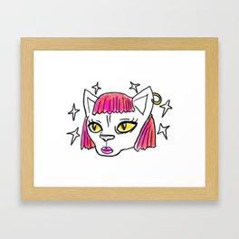 Feline Power - funky illustrated sphynx cat Framed Art Print