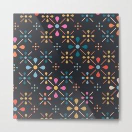 Retro Floral Pattern Metal Print