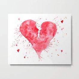 Watercolor Kiss Heart Metal Print