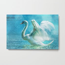 White Swan During a Summer Shower Metal Print