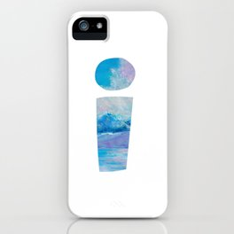 Letter I on white background with Iceberg drawn by pastel iPhone Case
