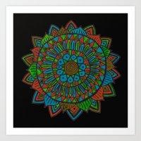 Glow Doodle Mandala Art Print