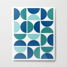 Geometric Abstract Blue Metal Print