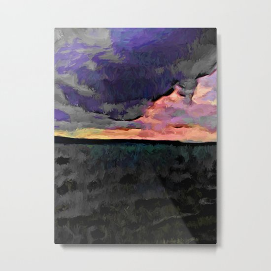Pink Sky with Lavender Clouds and the Dark Sea Metal Print