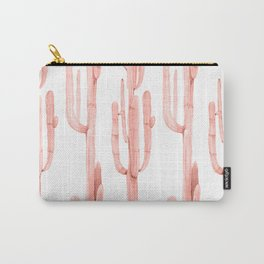 Pretty Coral Pink Cactus Pattern Carry-All Pouch