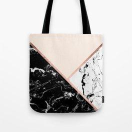 Modern black white marble rose gold color block stripes blush pink Tote Bag