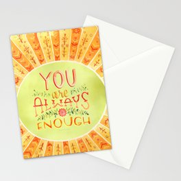 You Are Always Enough / Watercolor Hand Lettering Self Love Encouragement Quote for Positivity Stationery Cards