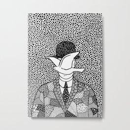 Magritte. Man in a Bowler Hat Metal Print