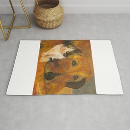 Cat and Dog Resting - Oil Painting Rug