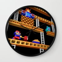 donkey kong Wall Clocks featuring Inside Donkey Kong stage 2 by Metin Seven